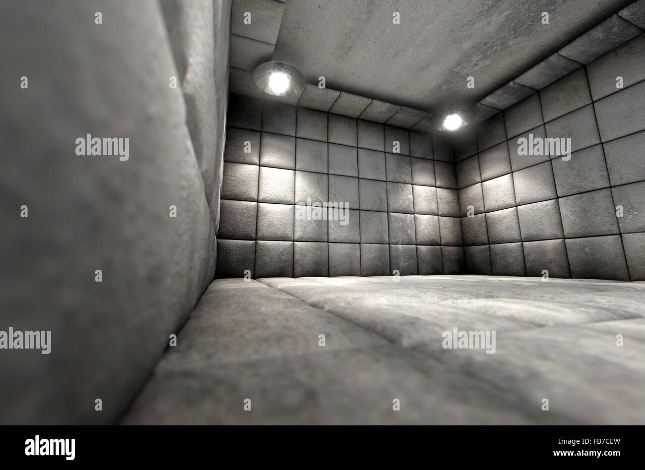 Un blanc sale cellule capitonnée dans un hôpital psychiatrique Banque D'Images