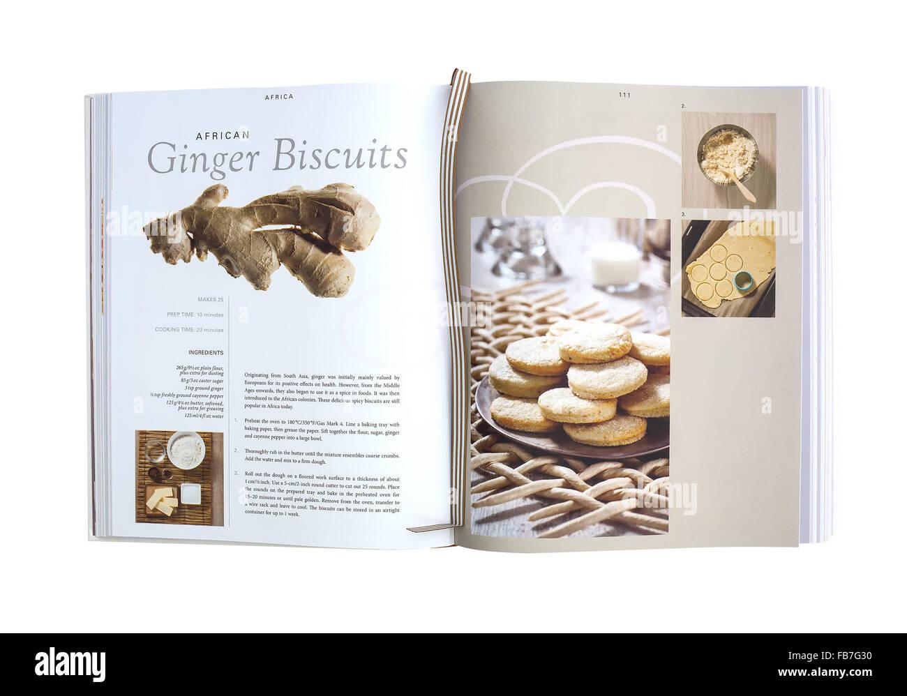 Recette de biscuits au gingembre africain de la cuire Cook Book Photo Stock