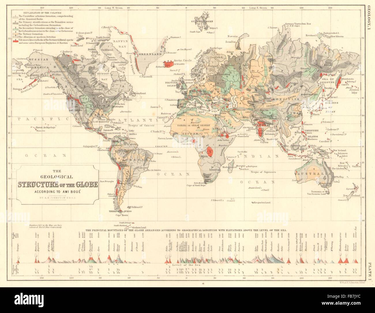 Monde: la structure géologique selon Ami Boue.Principal montagnes, 1850 map Photo Stock