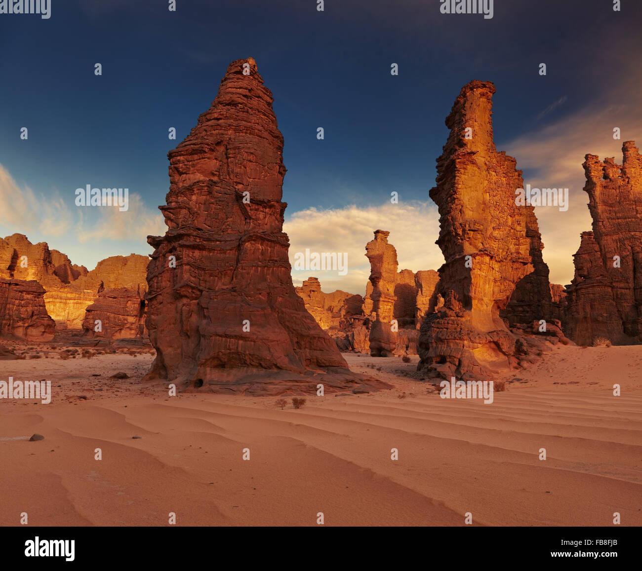 Les roches du désert du Sahara, Tassili N'Ajjer, Algérie Photo Stock