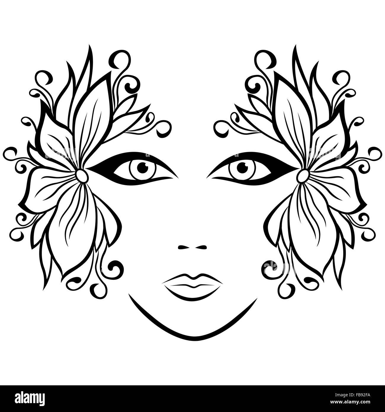 abstraite noir et blanc visage de femme avec des accessoires floraux dessin la main vector. Black Bedroom Furniture Sets. Home Design Ideas