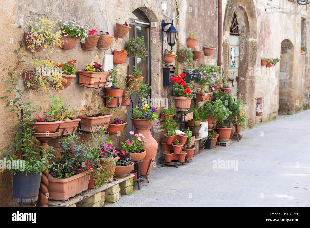 Pots De Fleurs En Ceramique Accrocher Sur L Ancien Mur Italien