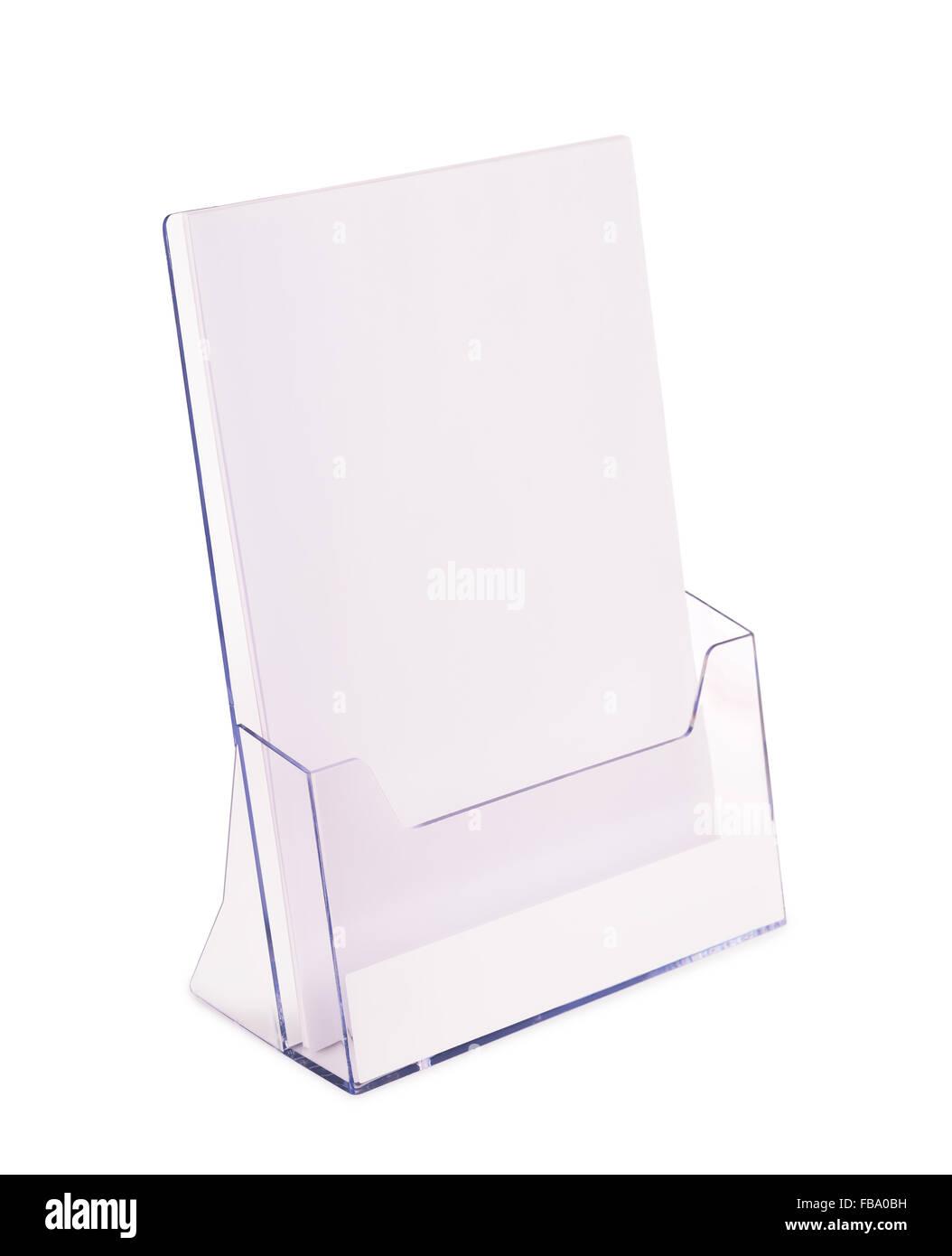 Porte brochures acrylique isolated on white Photo Stock