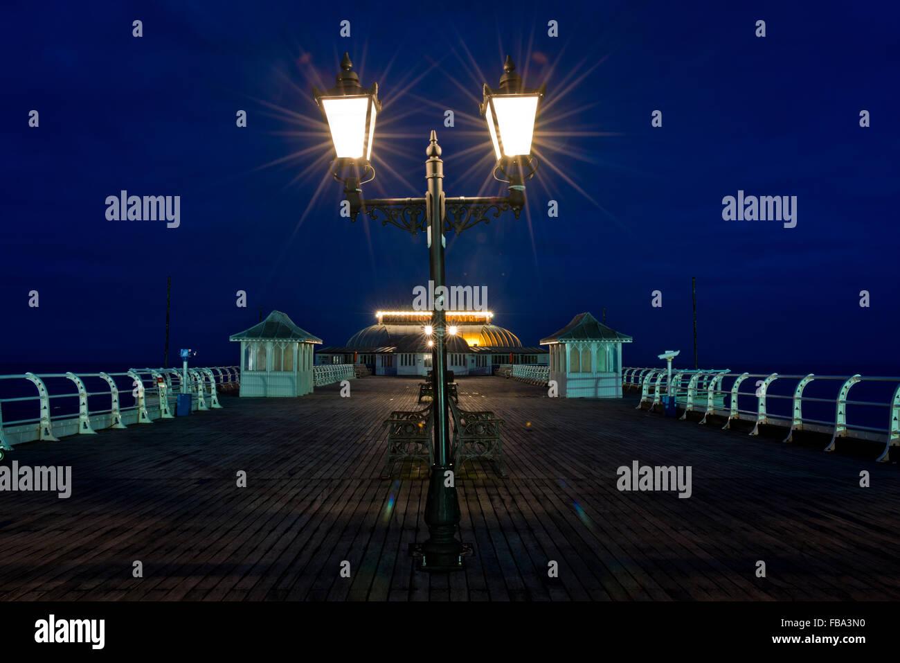 Photo de nuit de jetée de Cromer, Norfolk, UK Photo Stock
