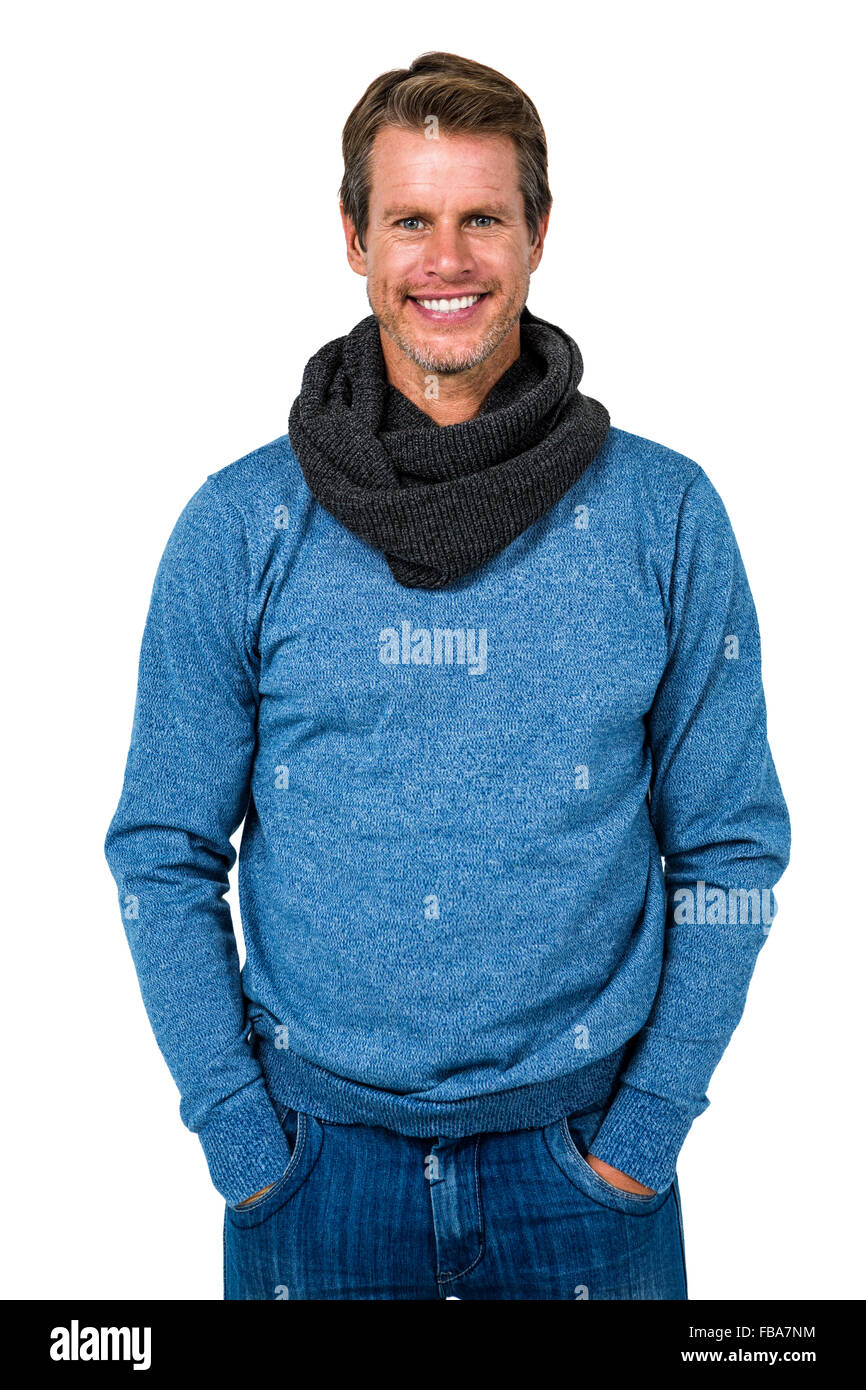 L'homme élégant standing against white background Photo Stock