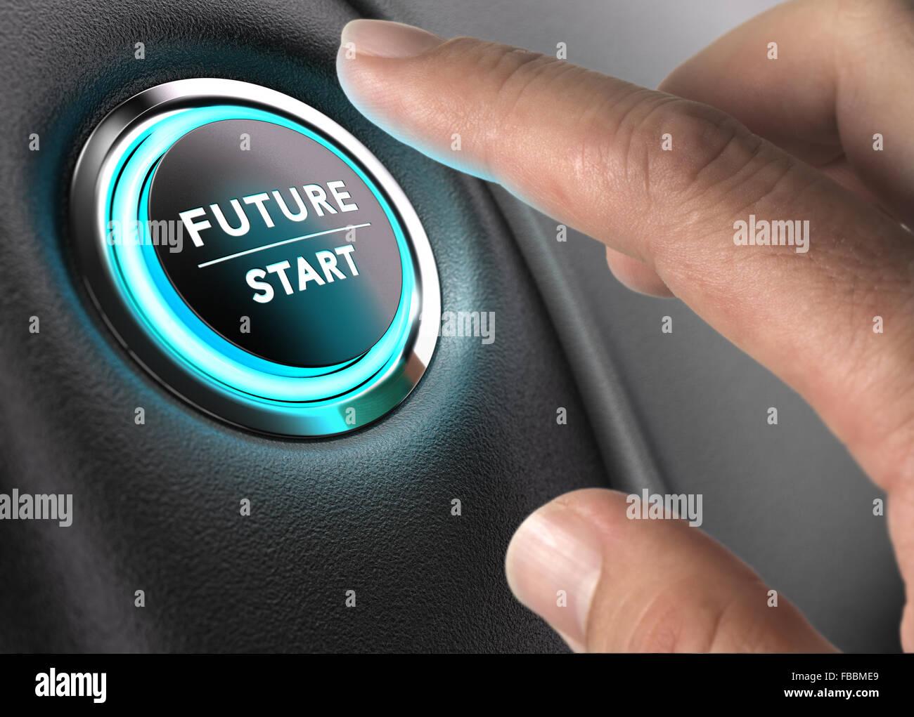 À propos de doigt pour appuyer sur le bouton de l'avenir avec plus de lumière bleu et noir fond gris. Photo Stock