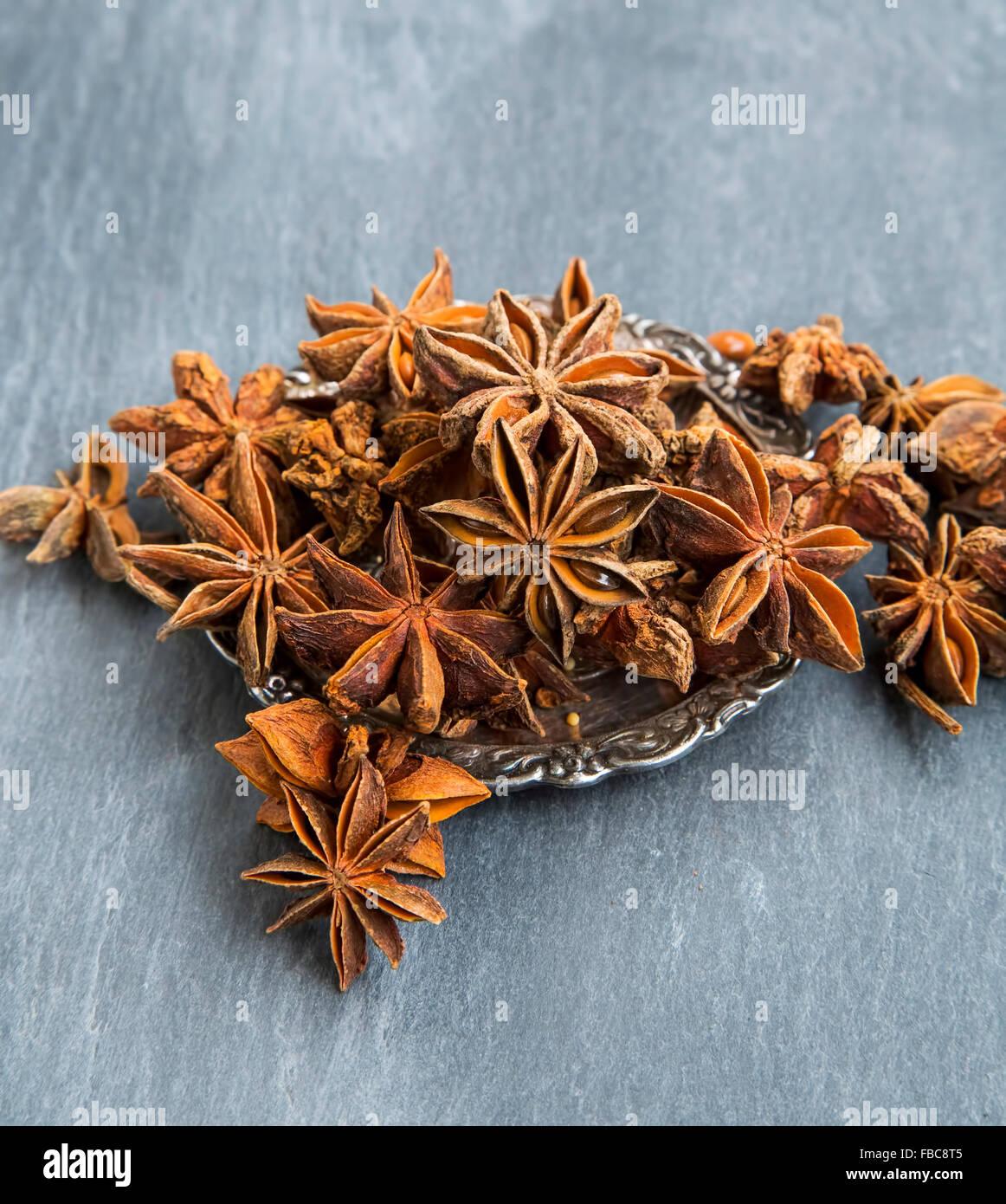 Anise Stars , Condiment aromatique en bonne santé Photo Stock