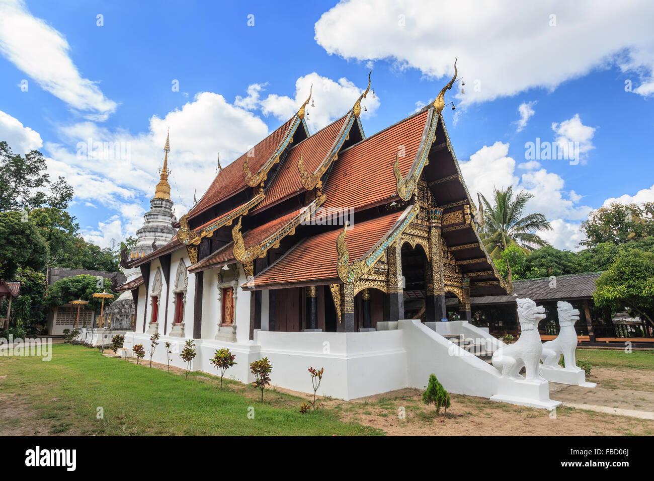 Vieux temple à Chiang Mai - Thaïlande Photo Stock