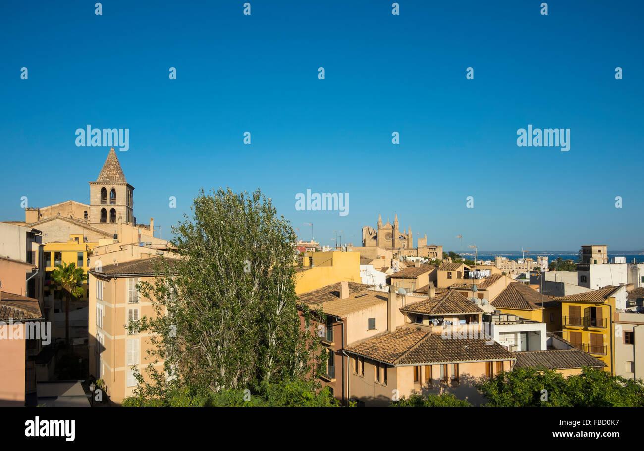 Vues de Palma de Majorque, avec la Cathédrale, Majorque, Îles Baléares, Espagne Photo Stock