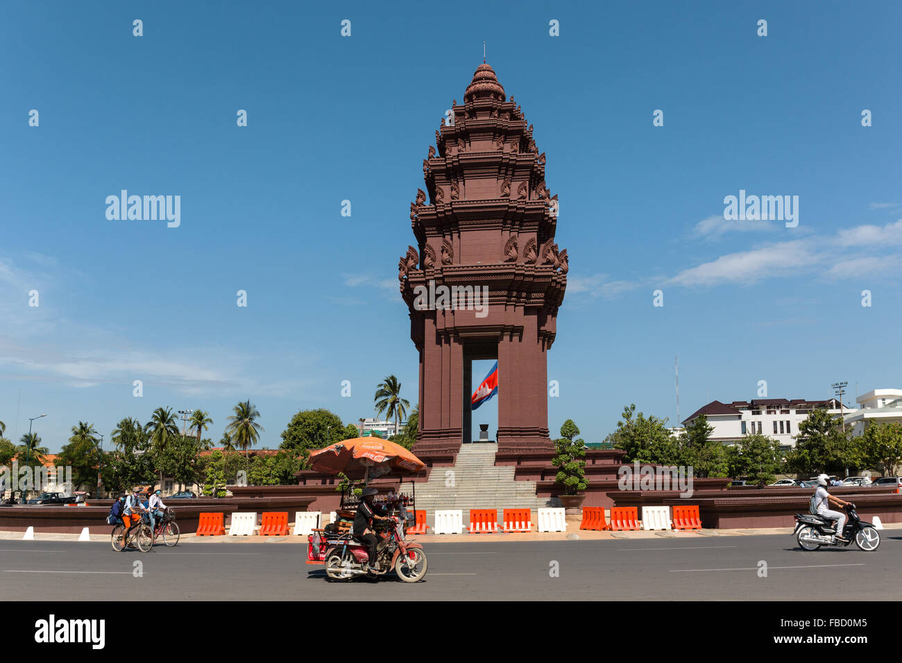 Au rond-point, le Monument de l'indépendance, Phnom Penh, Cambodge Photo Stock
