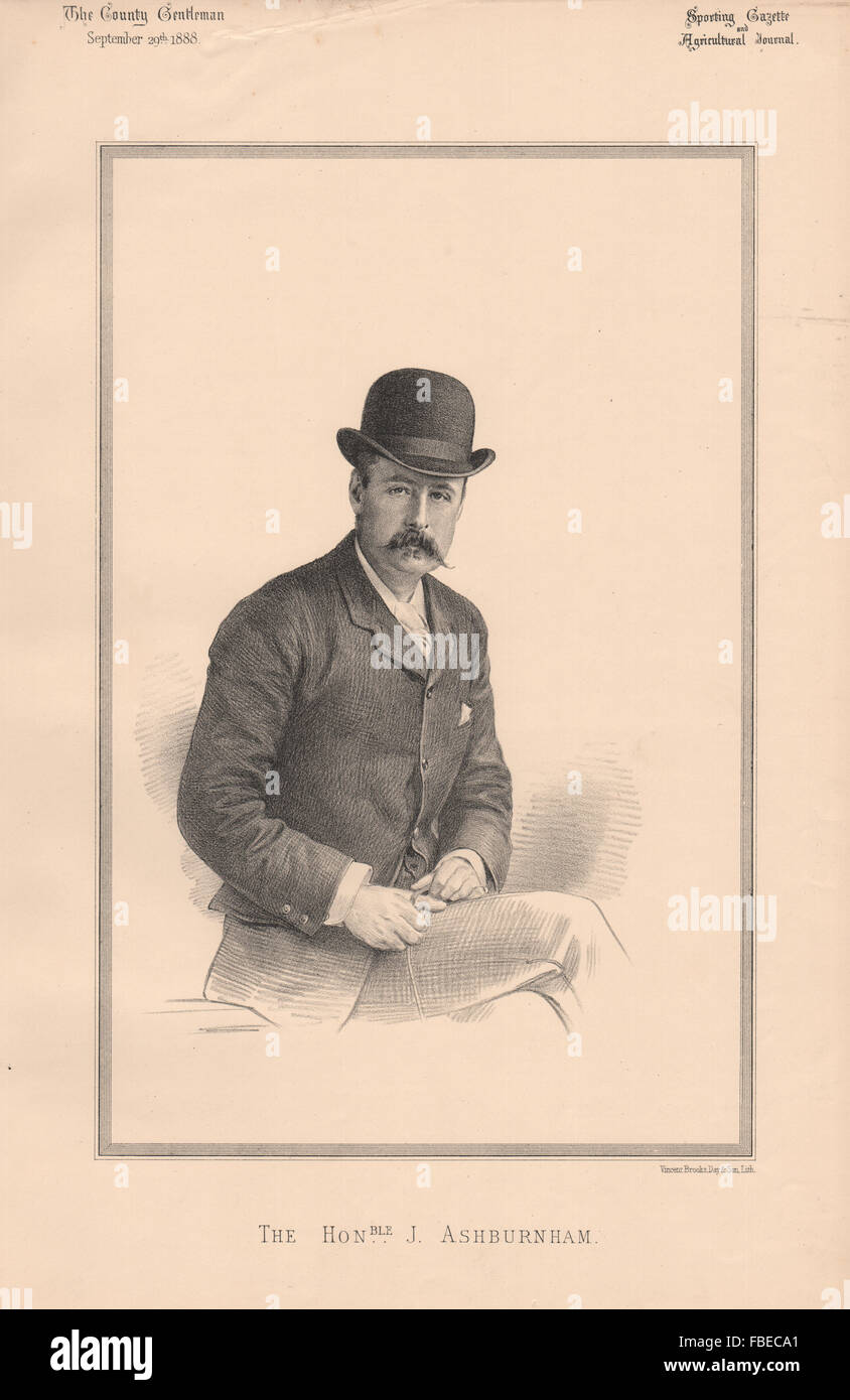 L'Honorable J. Ashburnham, antique print 1888 Photo Stock