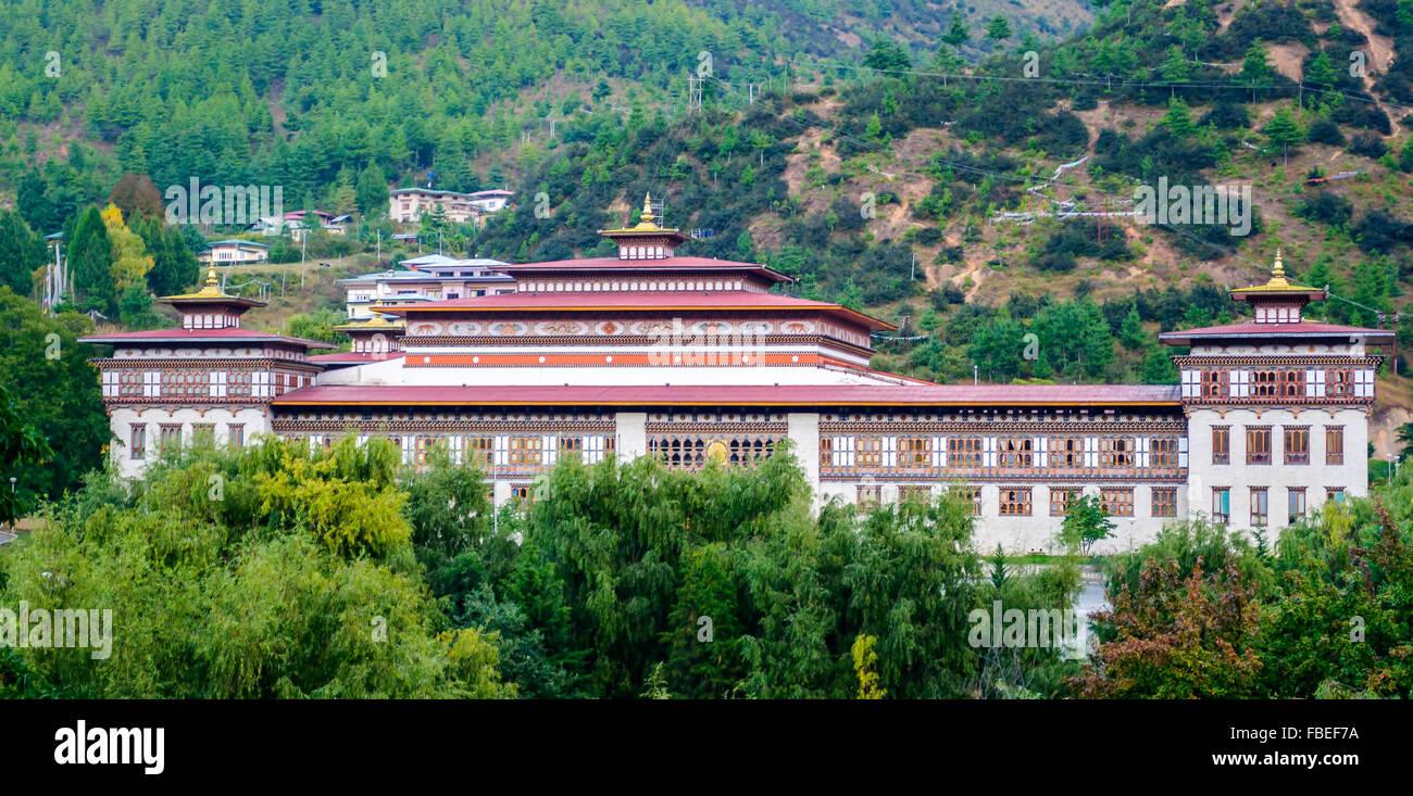 Historique de la construction de la SAARC Bhoutan Tashi choe Dzong, Forteresse, centre administratif with copy space Photo Stock