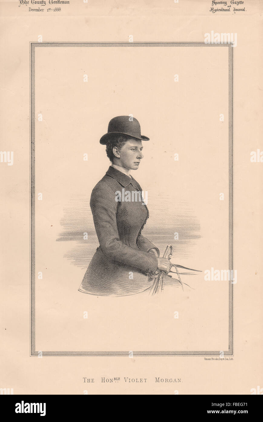 L'Honorable Violet Morgan, antique print 1888 Photo Stock