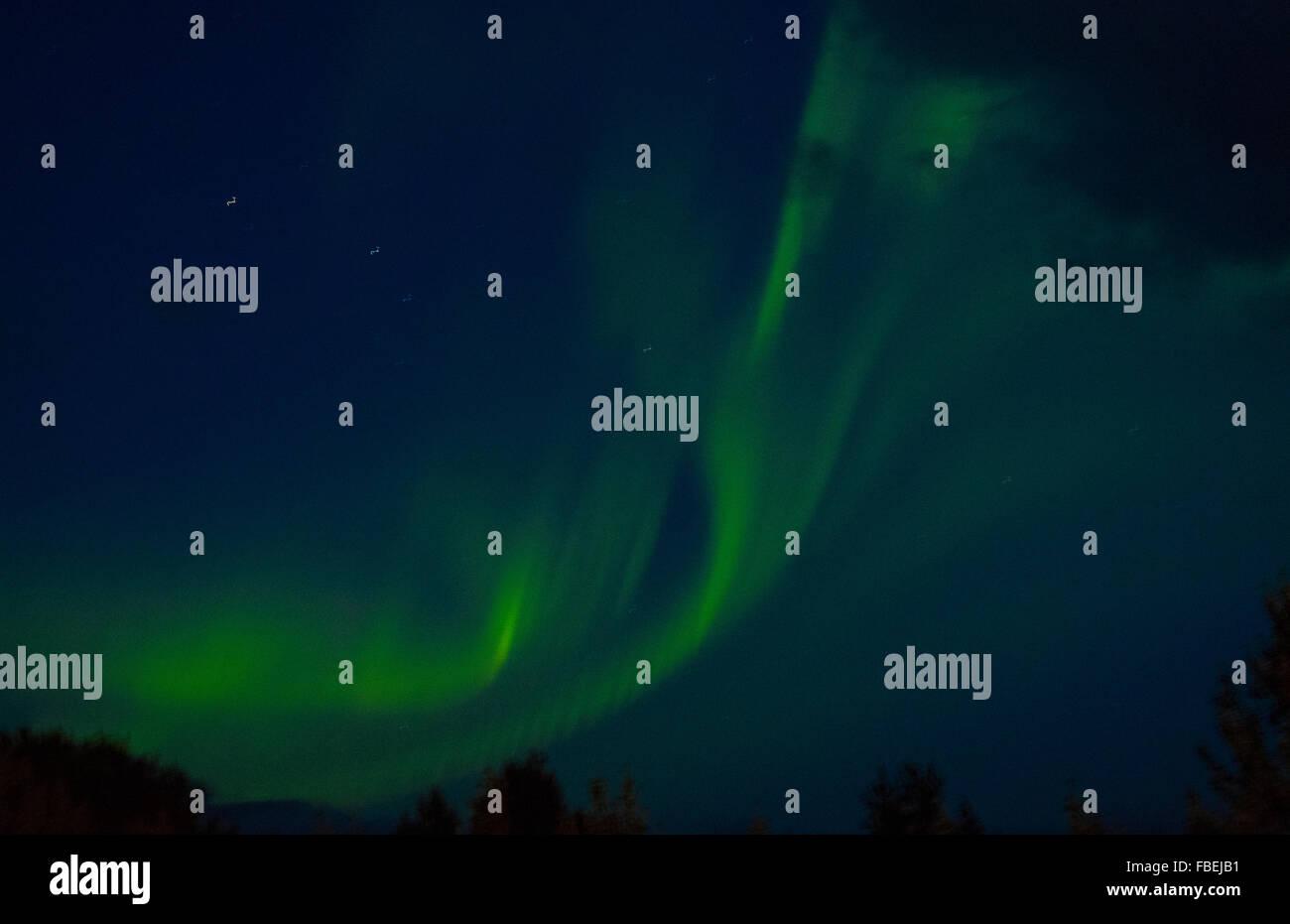 L'Islande du Nord spectaculaire s'allume en vert dans la vallée de Reykholt dans l'ouest de l'Islande Photo Stock