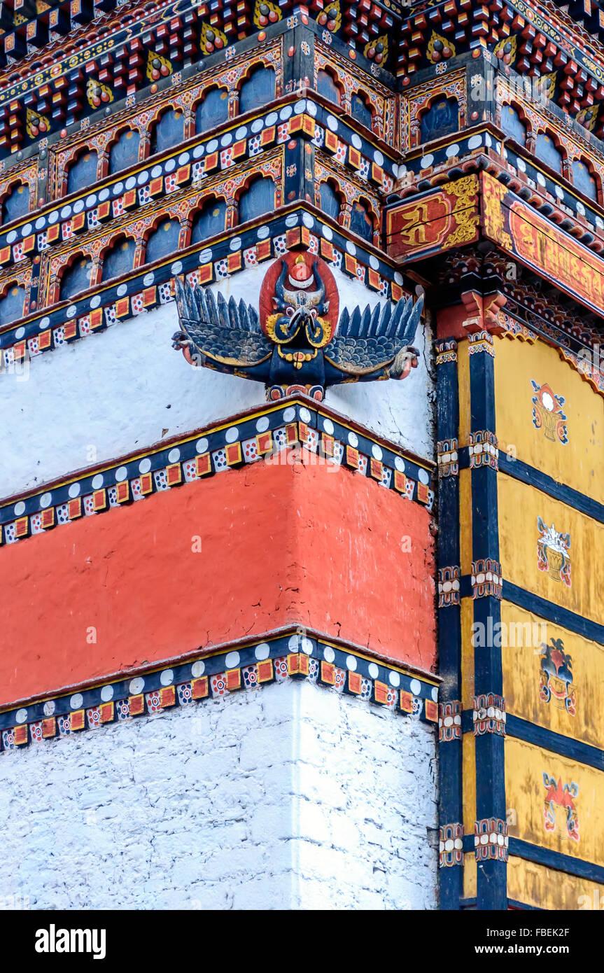 Décoration de Bhoutan Vue Tashi choe Dzong, Forteresse, centre administratif, Thimphu Photo Stock