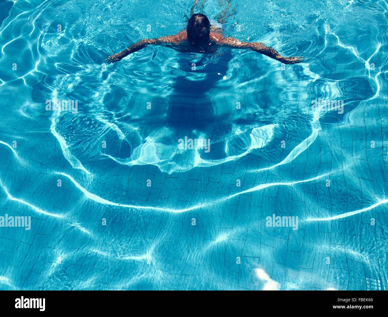 High Angle View Of Man Swimming In Pool Photo Stock