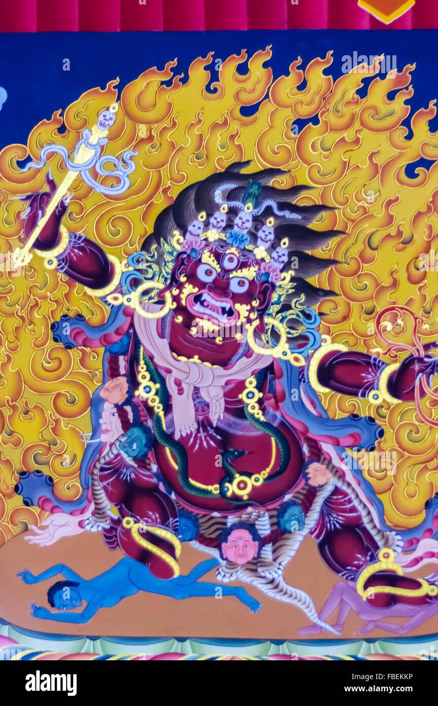 Colorés ou religieuse ancienne de peinture haute en couleur à l'intérieur de Mahakal Tashi choe Photo Stock