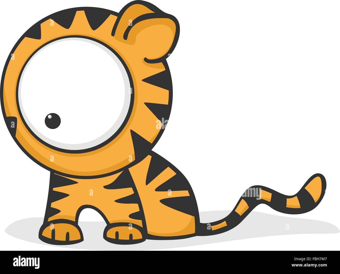 Mignon Et Funny Cartoon Tiger Avec D Enormes Yeux Vecteurs Et