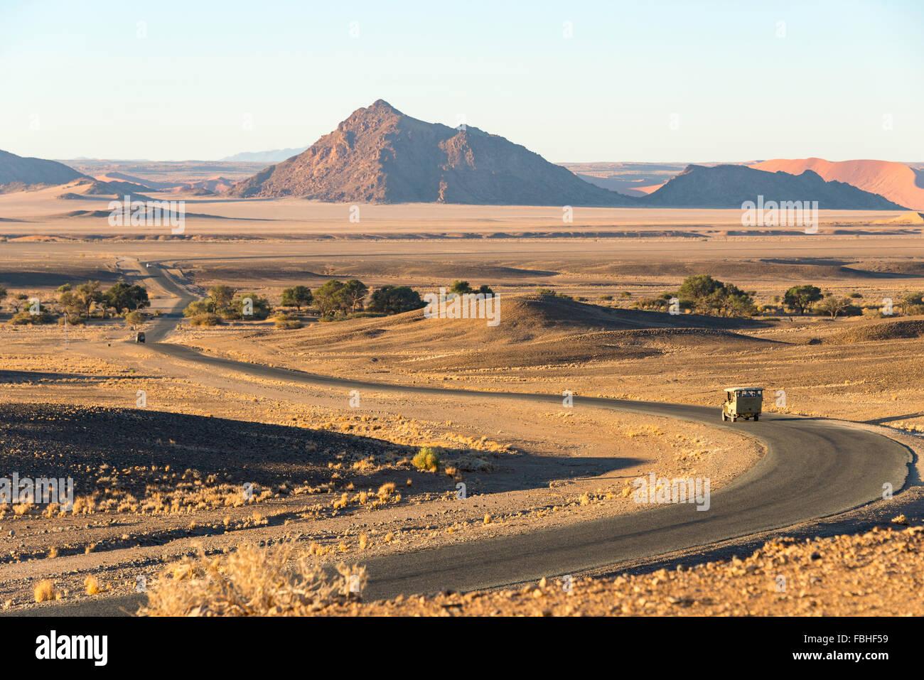 Route de solitaire, Namib Naukluft Park, le désert de Namib, Namibie Photo Stock