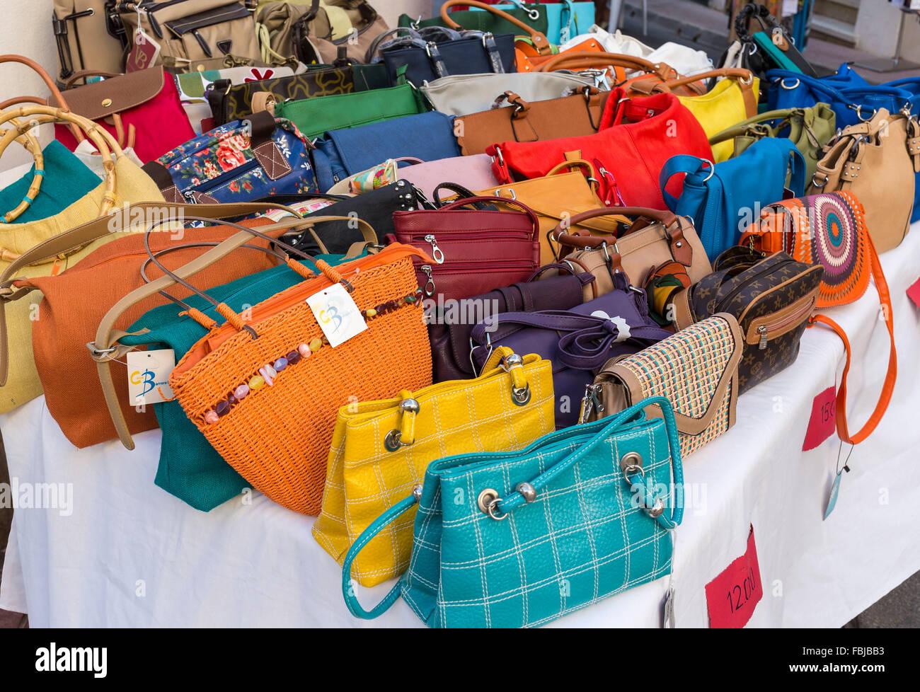 Vente de sacs à main en cuir, Alaior, Minorque, île des Baléares, 53ace326bb6