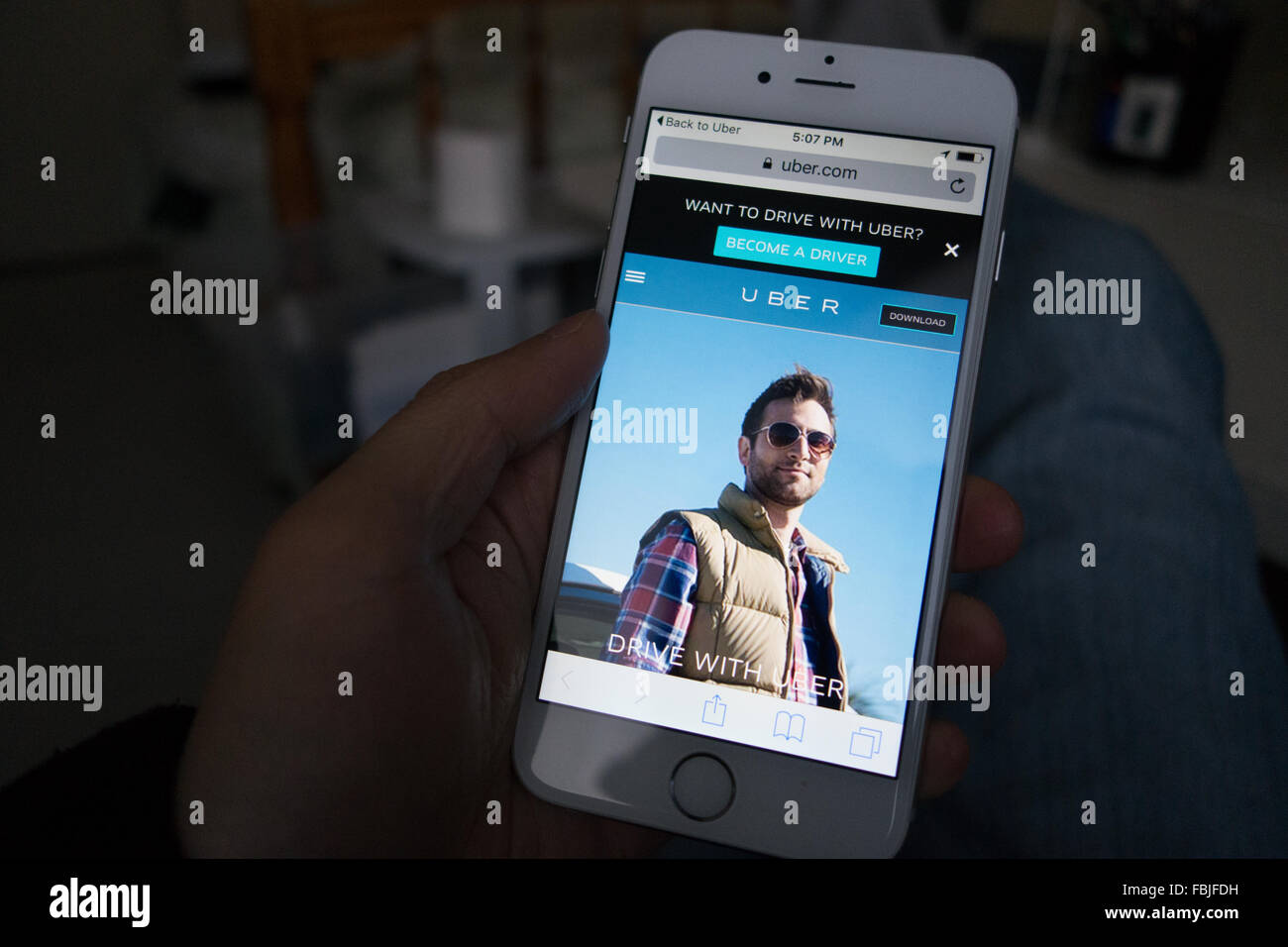 Le partage de voiture taxi uber app Photo Stock