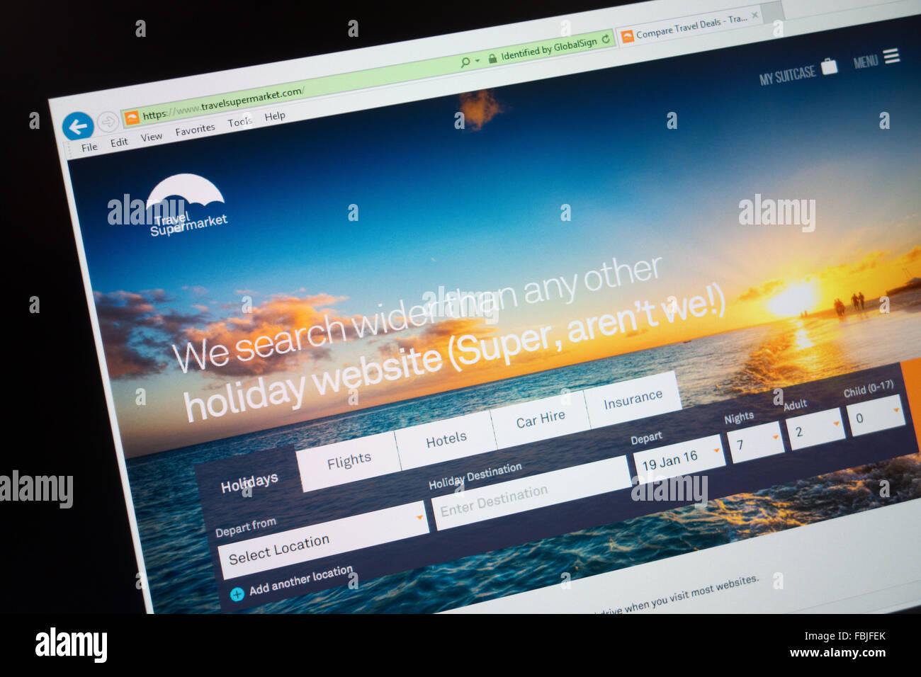 Supermarché voyage d'achats de comparaison de voyage Site web Photo Stock