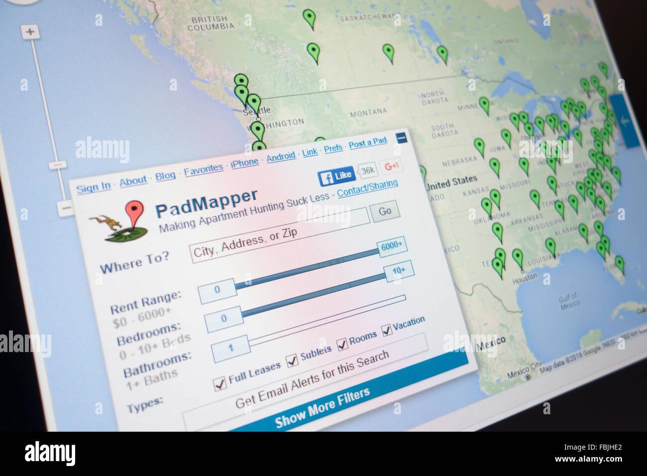 Recherche de location en ligne padmapper Photo Stock