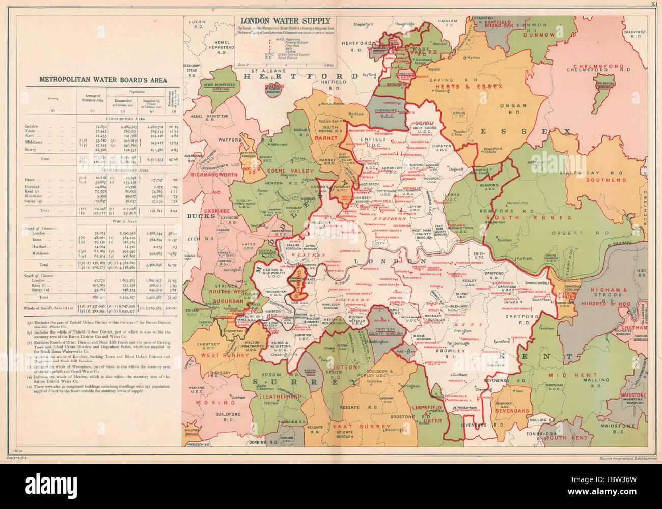Londres l'APPROVISIONNEMENT EN EAU. Metropolitan Water Board. Pompage réservoirs Stns, 1927 map Photo Stock