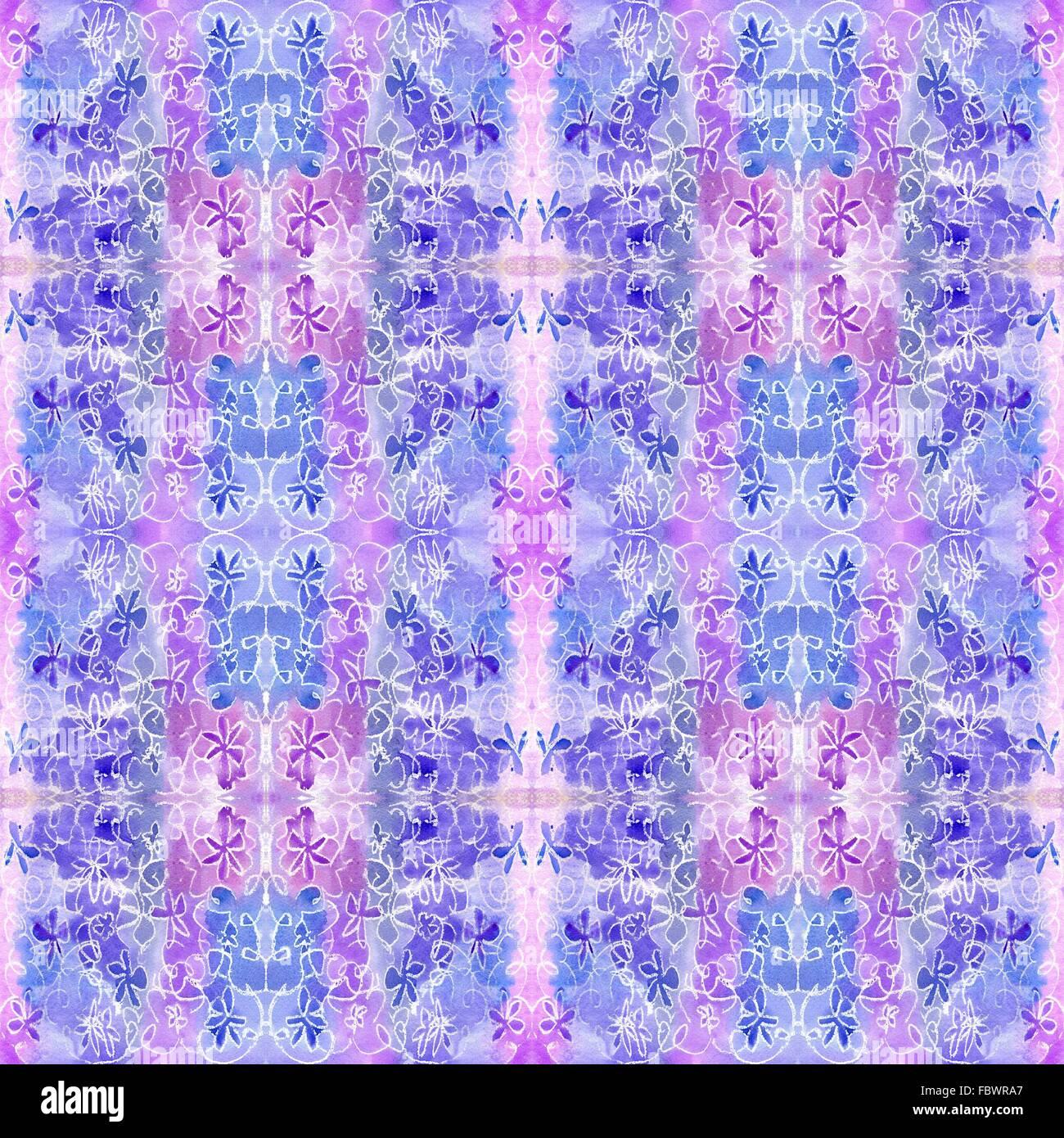 Répétition motif lilas aquarelle Photo Stock