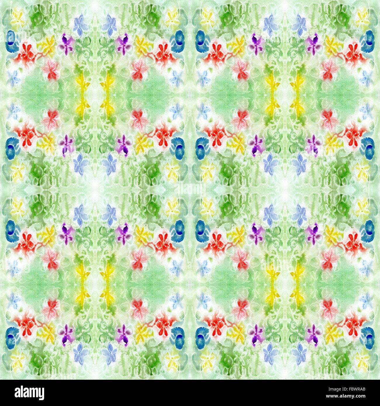 Répétition motif vert aquarelle Photo Stock