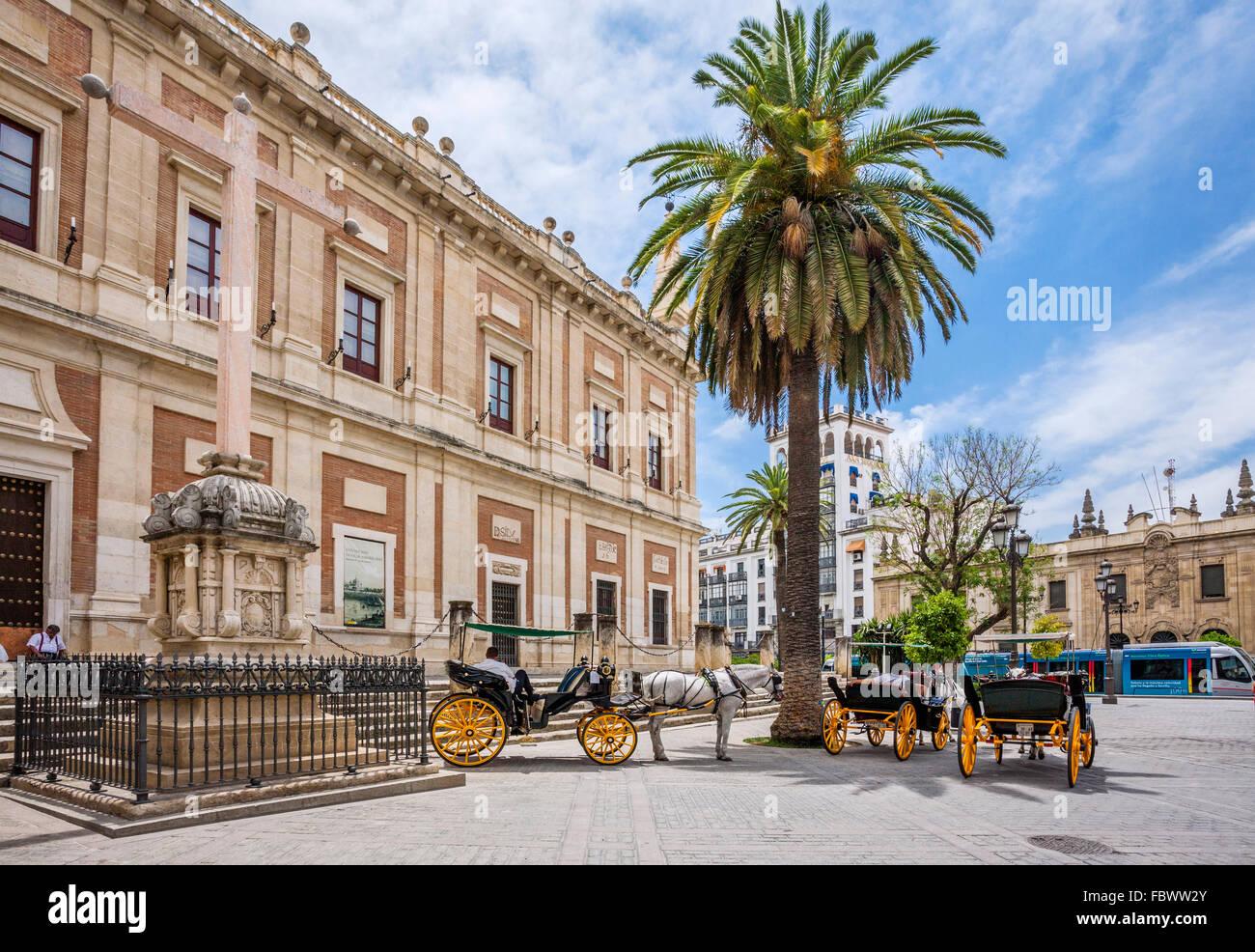 Espagne, Andalousie, province de Séville, Séville, chariots à l'Archivo de Indias, les Archives Photo Stock