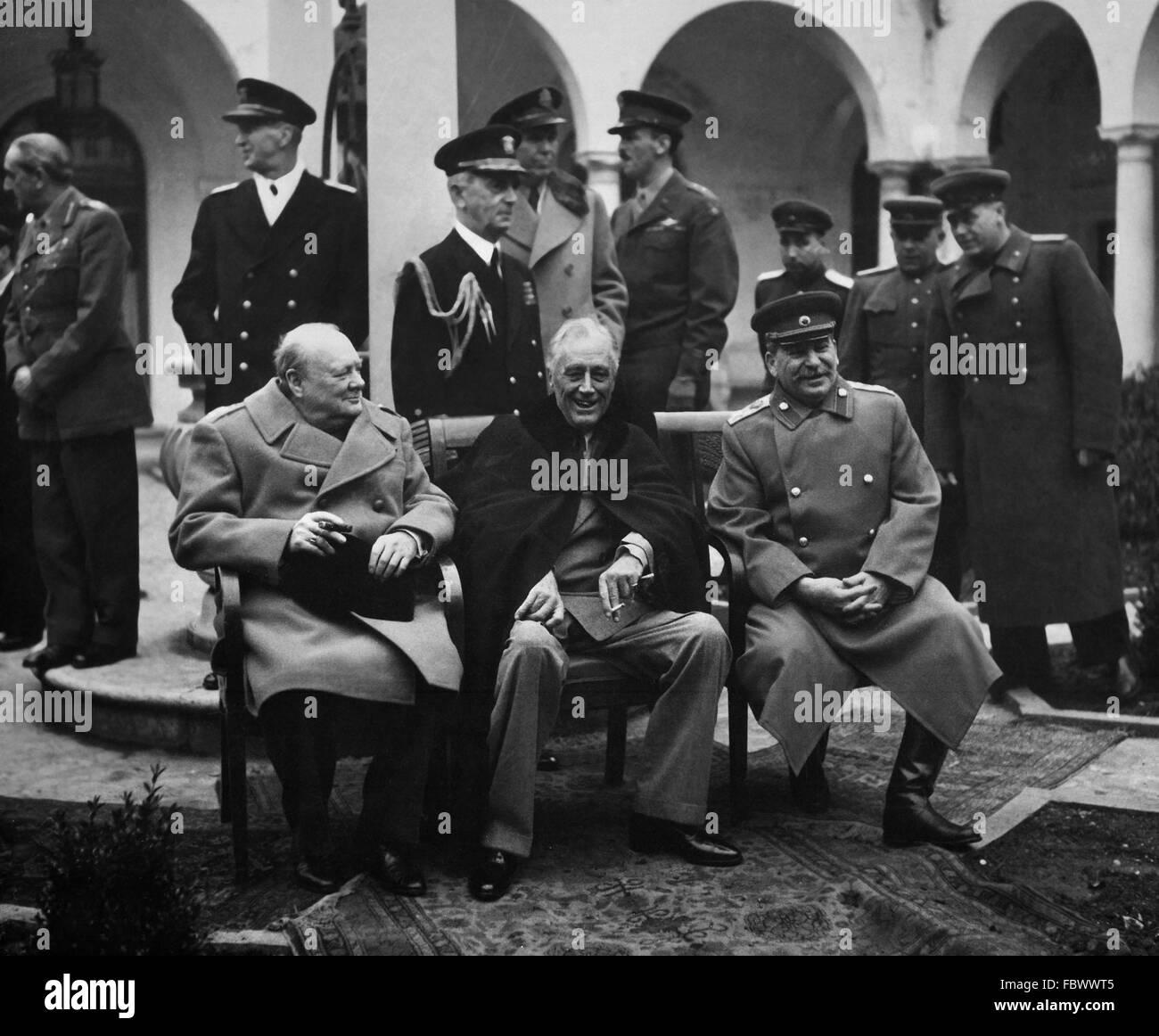 Le Premier ministre britannique, Winston Churchill, président américain Franklin D. Roosevelt et le Premier Photo Stock
