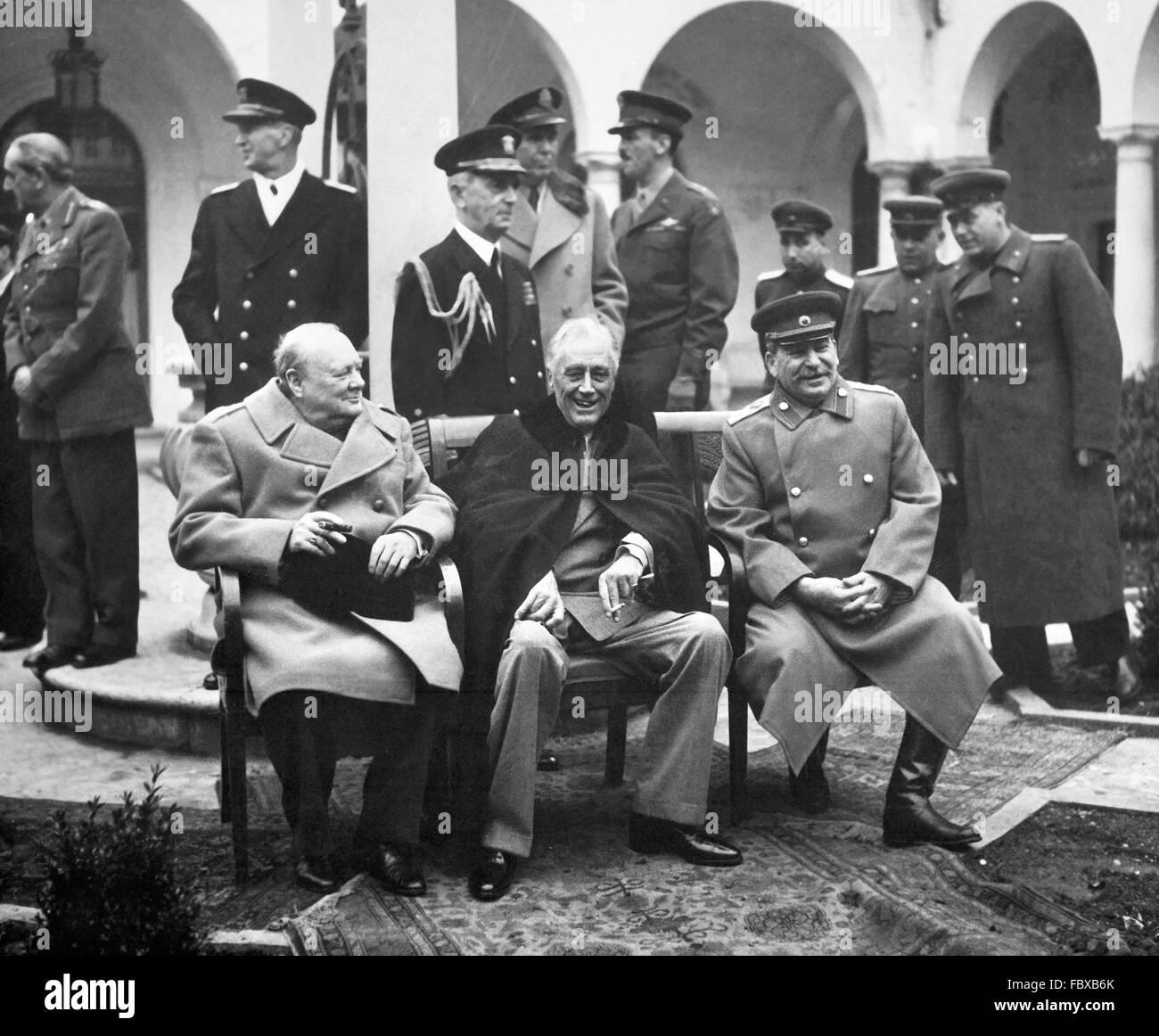 Conférence de Yalta, en février 1945. Le Premier ministre britannique, Winston Churchill, président Photo Stock