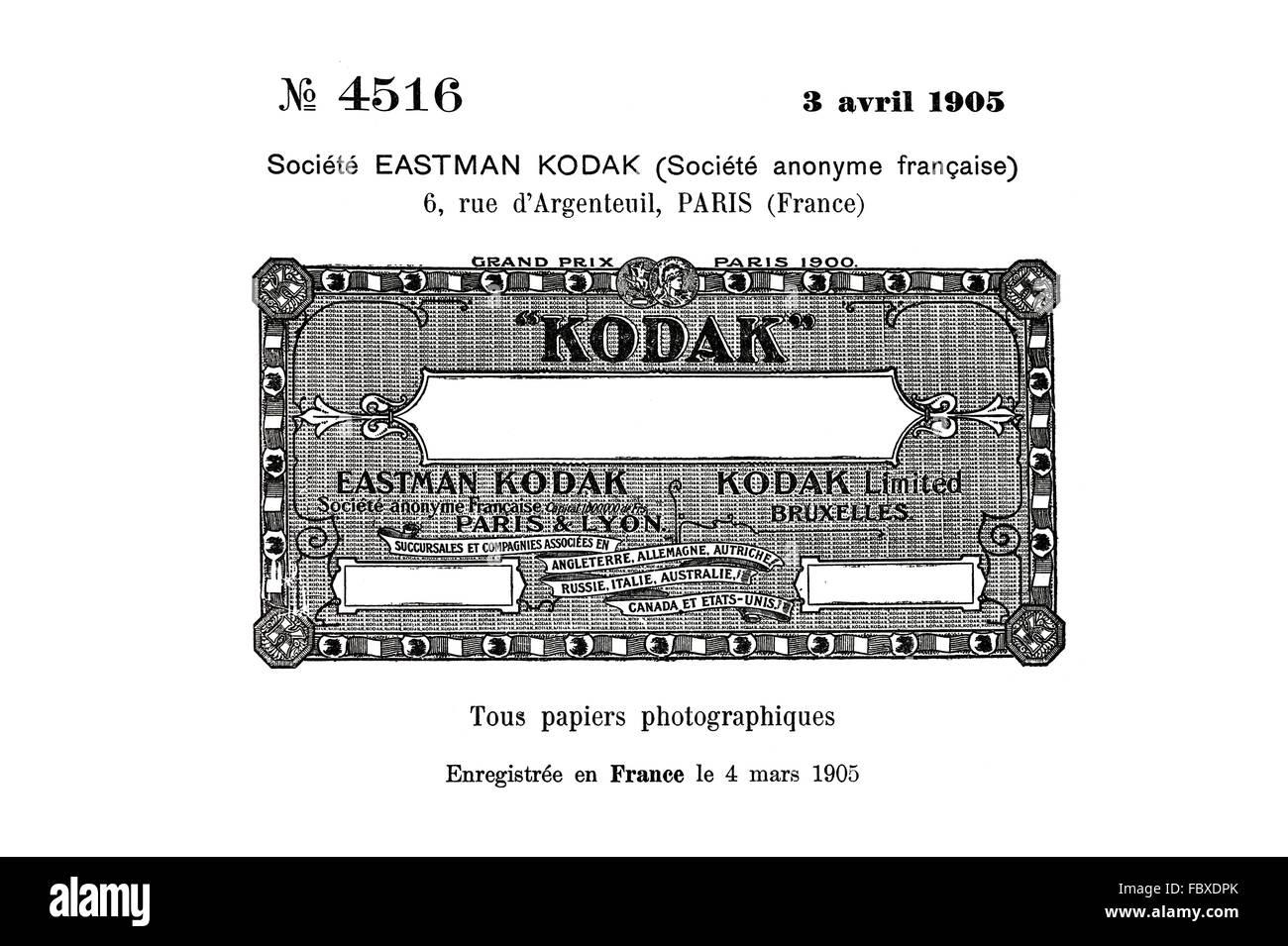 Marque historique pour les papiers photo Kodak, Eastman Kodak 1905 Photo Stock