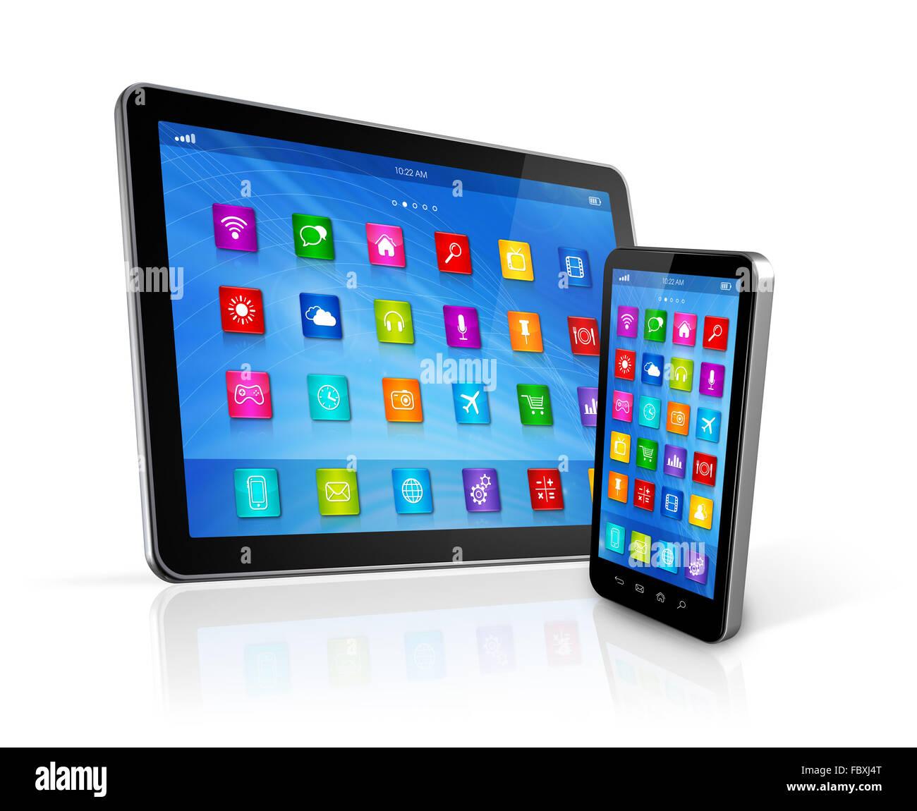 Smartphone et tablette numérique Photo Stock