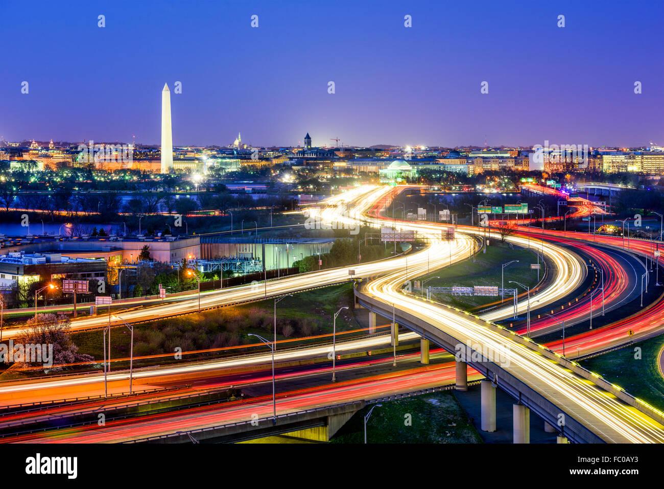 Washington, D.C. avec les routes et les monuments. Photo Stock