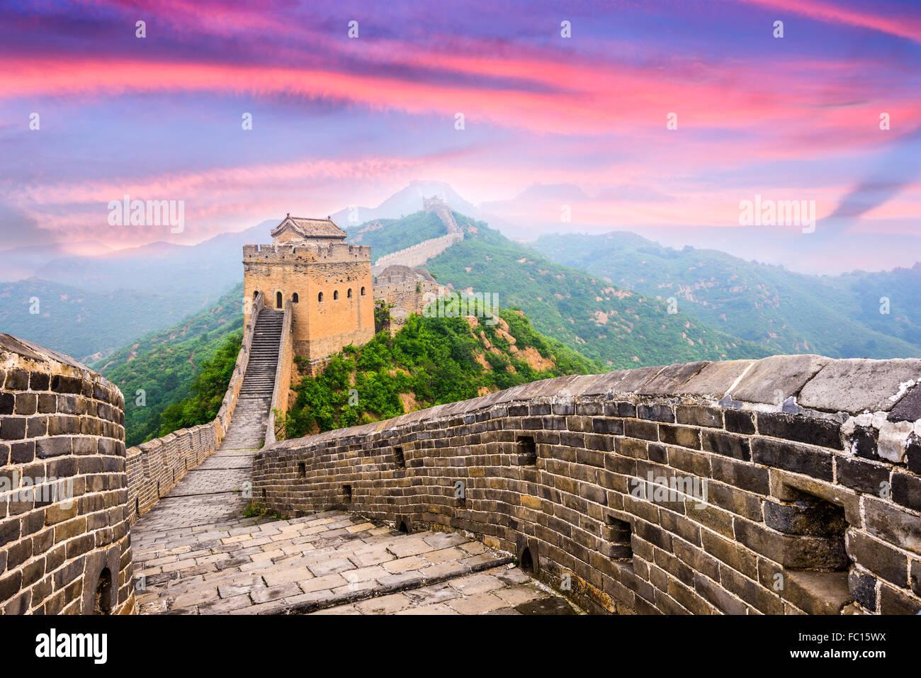 Grande Muraille de Chine, à la section de Jinshanling. Photo Stock