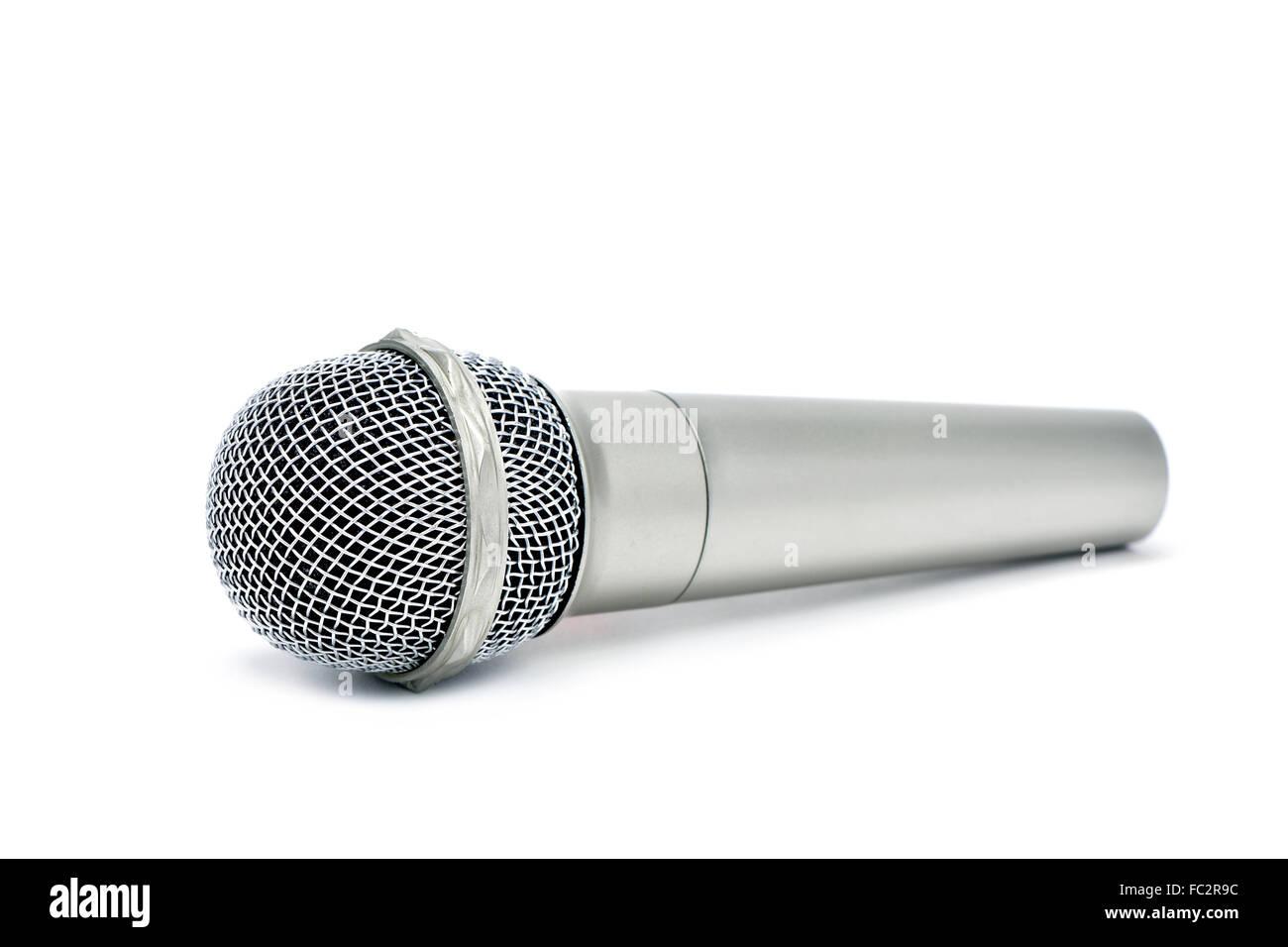 Un microphone sans fil sur un fond blanc Photo Stock