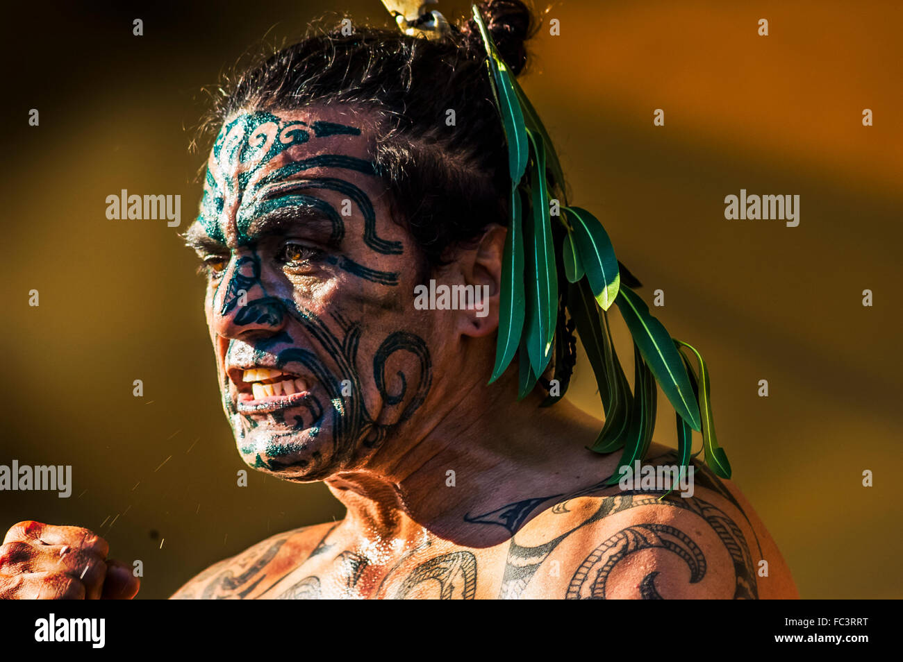 Close Up Dun Homme Féroce Le Visage Peint Avec La Peinture De La