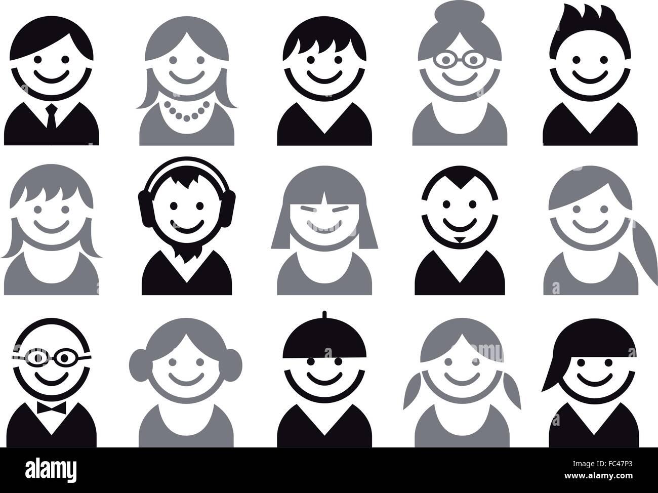 Les gens icônes, avatar, utilisateur, character design, vector set Illustration de Vecteur