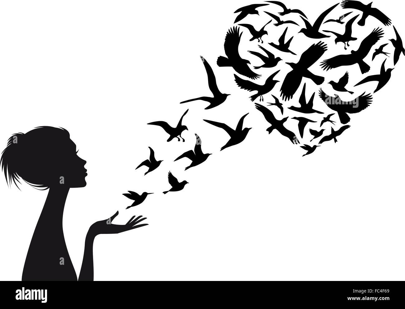 Vol des oiseaux en forme de coeur avec silhouette de femme, vector illustration Photo Stock