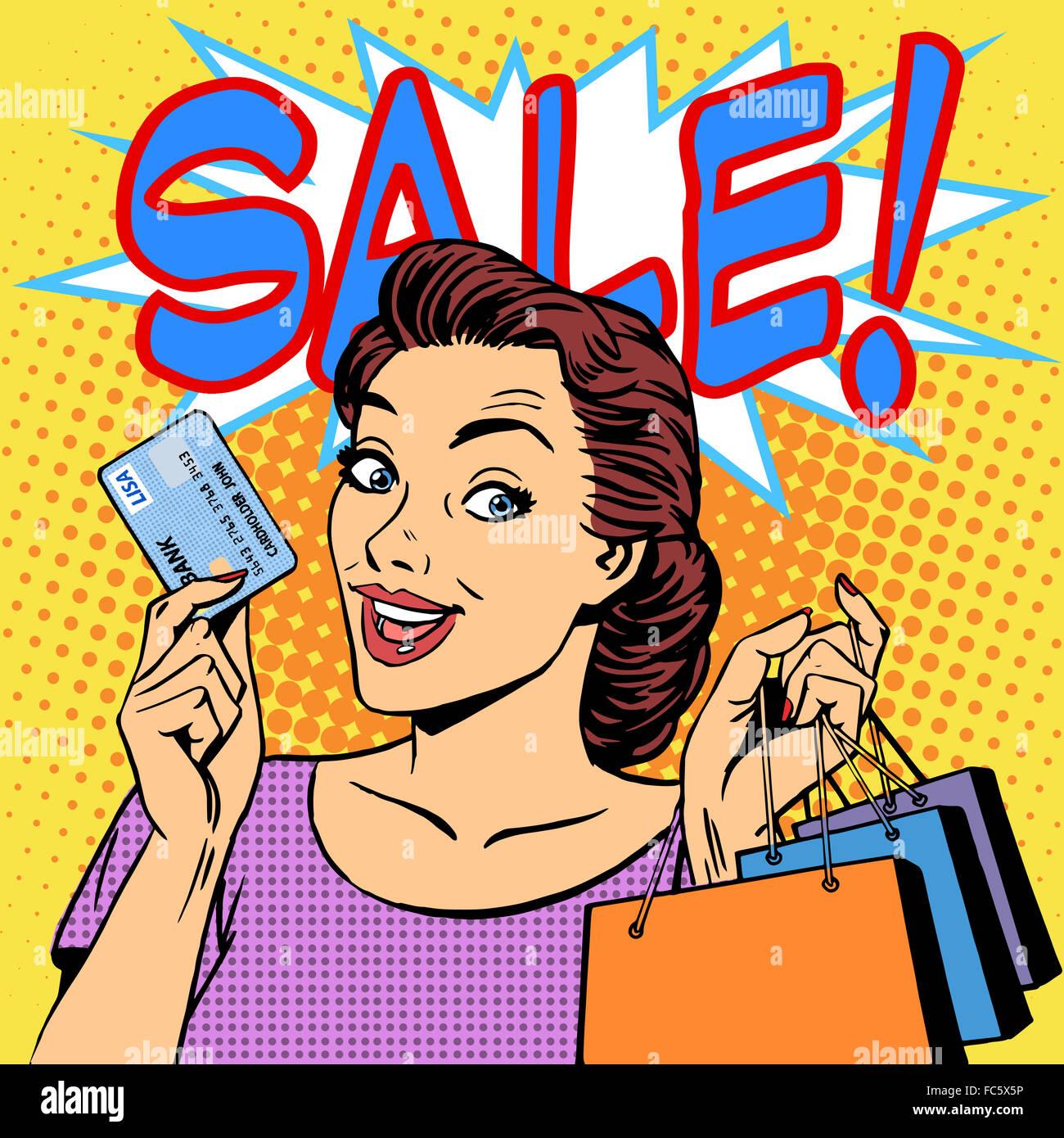 Carte de crédit remises achats femme vente Photo Stock