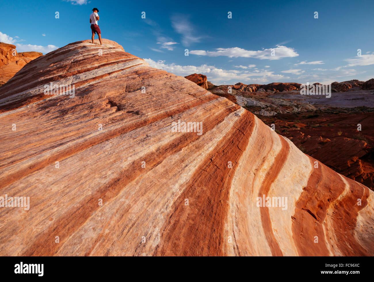 La vague de Feu, Vallée de Feu Park, Nevada, États-Unis d'Amérique, Amérique du Nord Banque D'Images