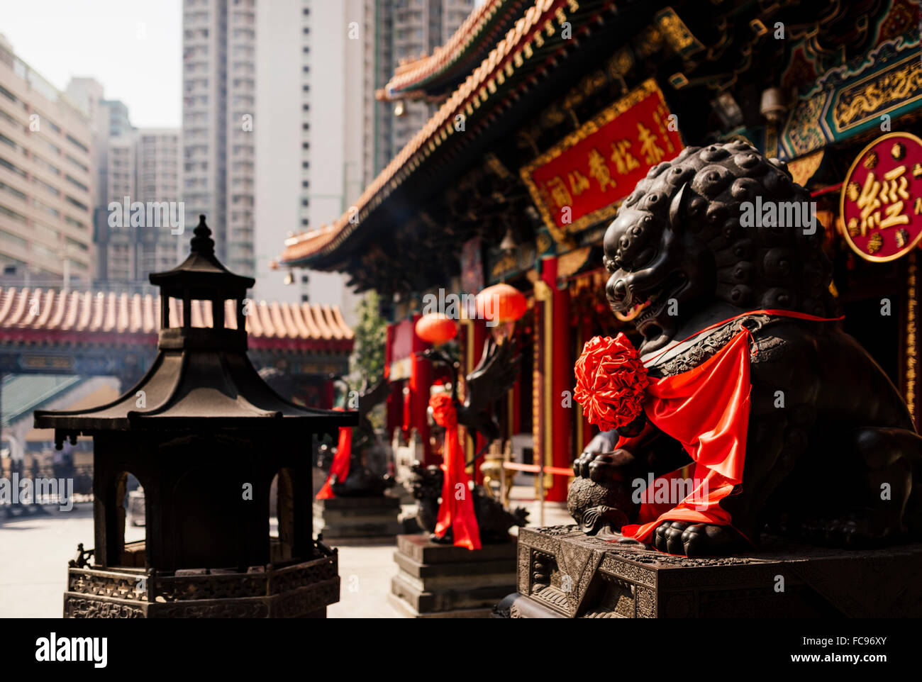 L'extérieur du Temple Wong Tai Sin, Kowloon, Hong Kong, Chine, Asie Photo Stock