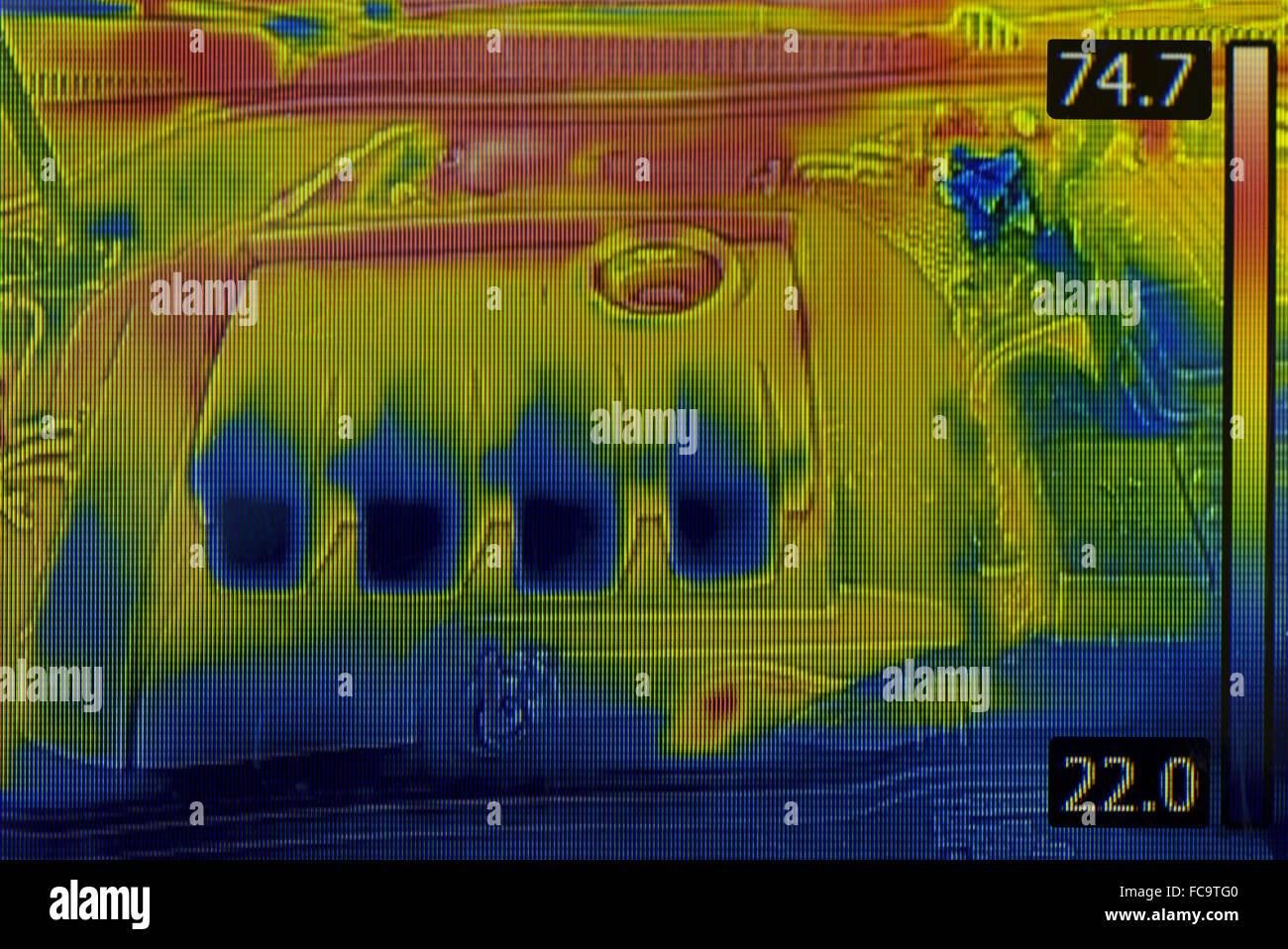 Image thermique moteur de voiture Photo Stock