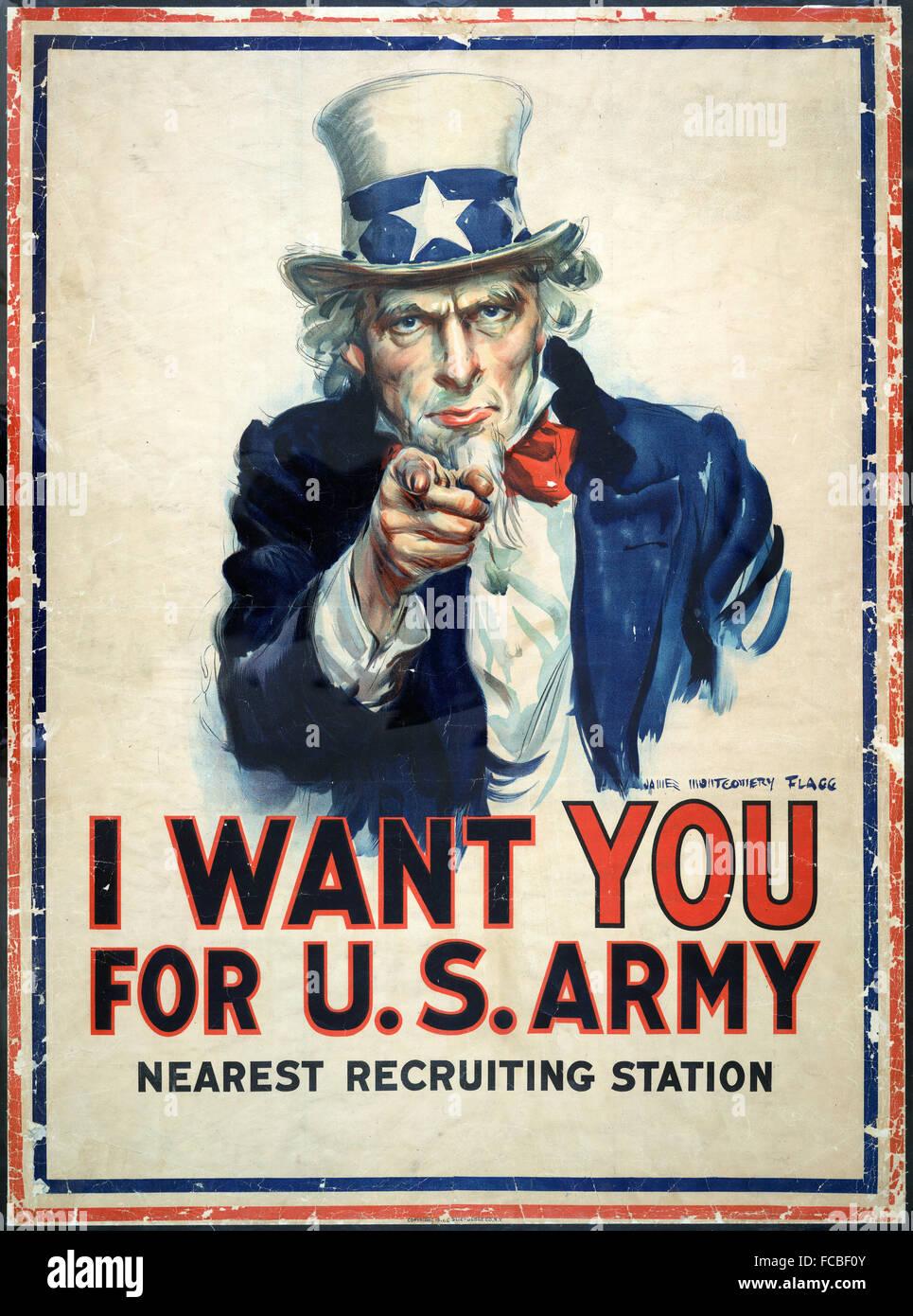 Affiche de recrutement de l'Oncle Sam d'origine pour l'armée américaine dans la PREMIÈRE Photo Stock
