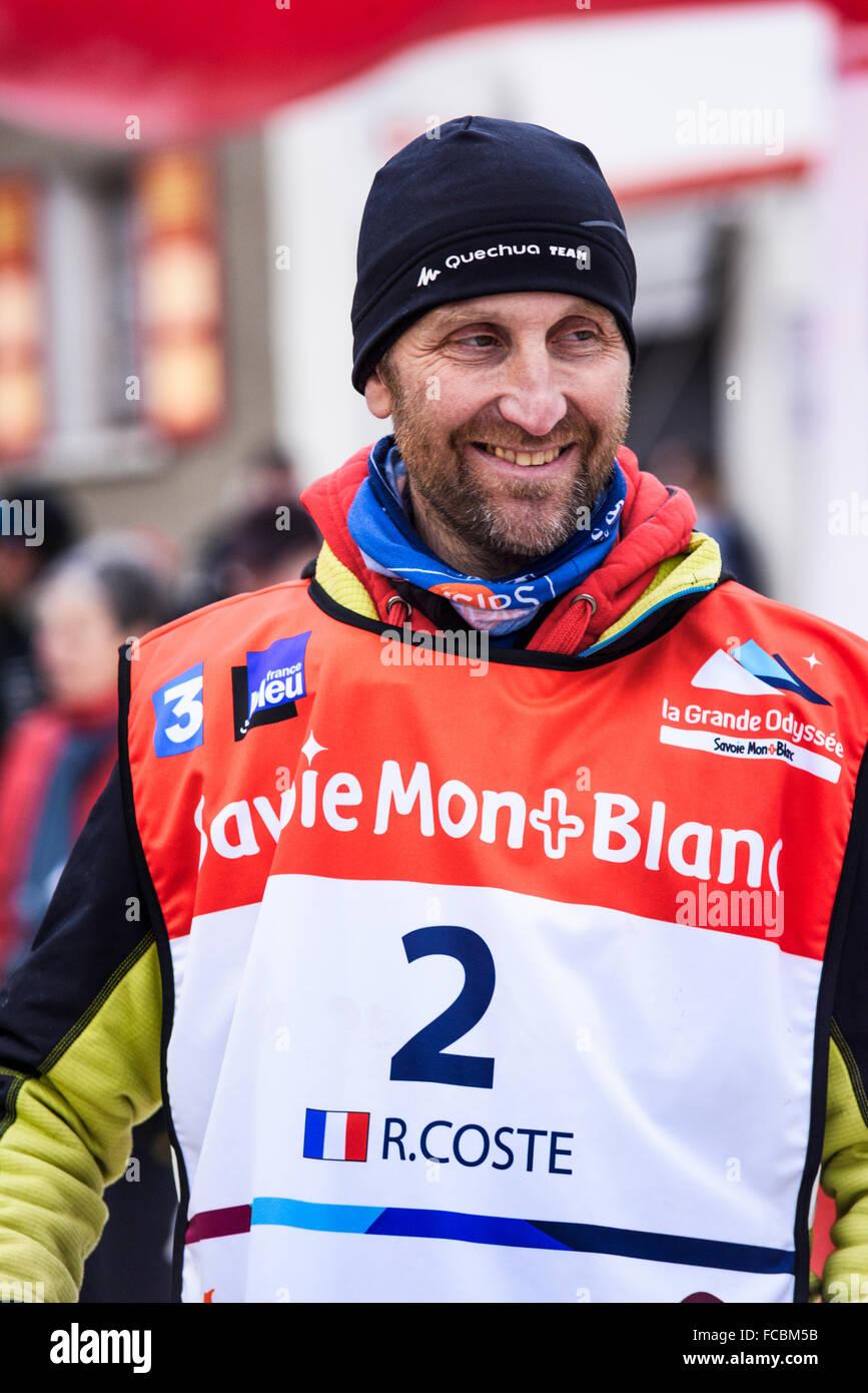 TERMIGNON, Vanoise, France - 20 janvier 2016 - Rémy COSTE le gagnant de la GRANDE ODYSSEE le célèbre Photo Stock