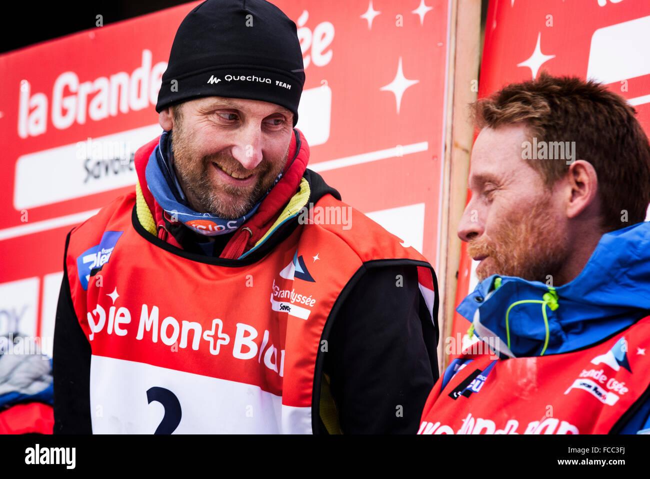 TERMIGNON, Vanoise, France - 20 janvier 2016 - Le podium Rémy COSTE le gagnant de la GRANDE ODYSSEE Photo Stock
