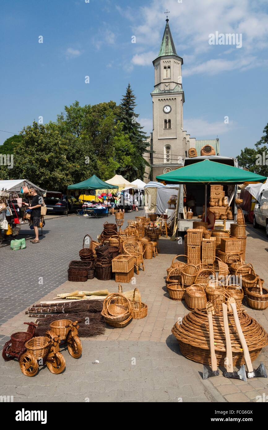 Mercado al aire libre, ordesa de Cracovia,, la Pologne, l'Europe de l'Est. Photo Stock
