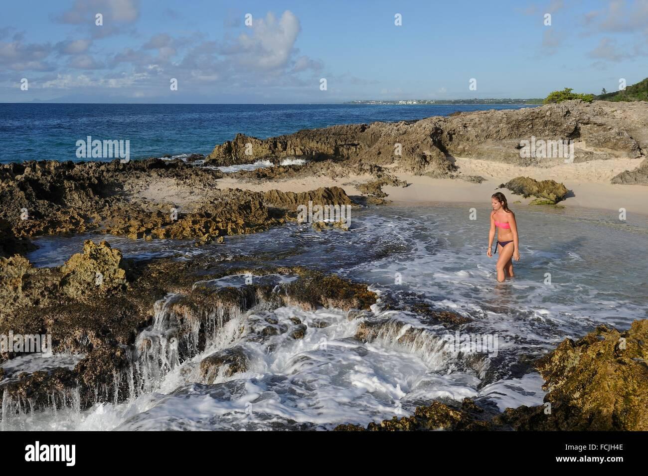 Plage de la Pointe des Châteaux, Grande-Terre, Guadeloupe, région d'outre-mer de la France, Vent Îles, Petites Antilles, Caraïbes. Banque D'Images